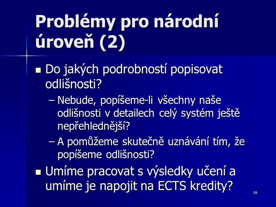 16 Problémy pro národní úroveň (2) Do jakých podrobností popisovat odlišnosti.