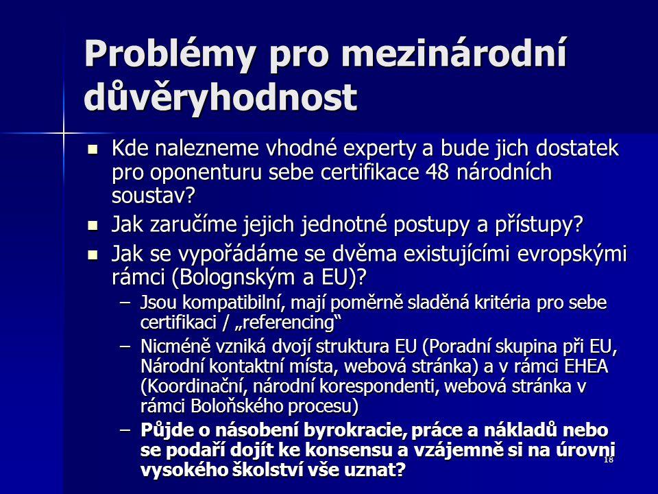 18 Problémy pro mezinárodní důvěryhodnost Kde nalezneme vhodné experty a bude jich dostatek pro oponenturu sebe certifikace 48 národních soustav.