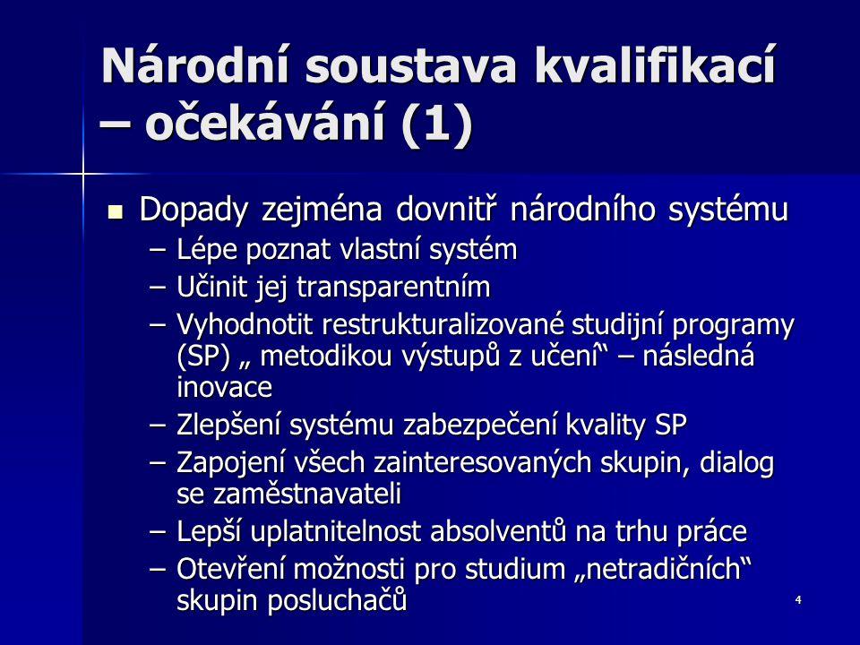 15 Problémy pro národní úroveň (1) Kolik úrovní deskriptorů potřebujeme.