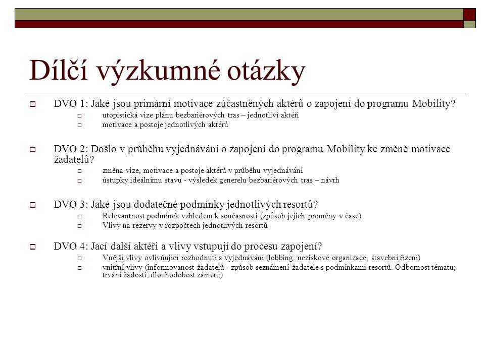 Dílčí výzkumné otázky  DVO 1: Jaké jsou primární motivace zúčastněných aktérů o zapojení do programu Mobility?  utopistická vize plánu bezbariérovýc