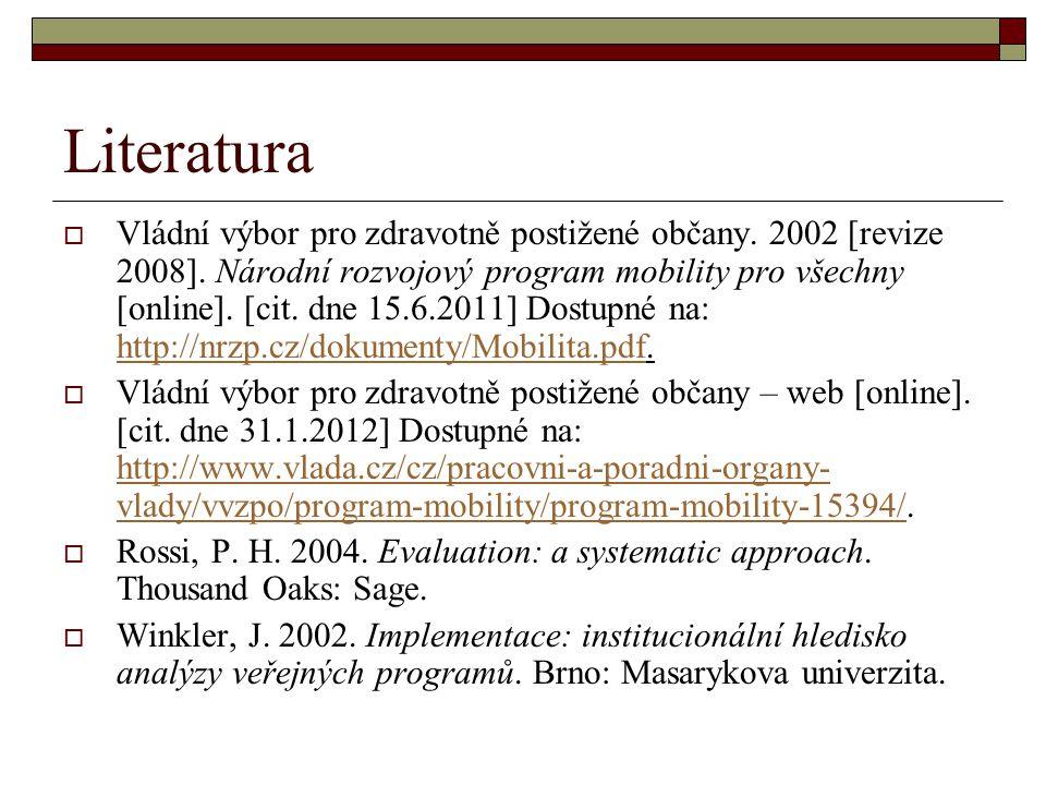 Literatura  Vládní výbor pro zdravotně postižené občany. 2002 [revize 2008]. Národní rozvojový program mobility pro všechny [online]. [cit. dne 15.6.