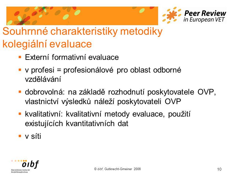 10 © öibf, Gutknecht-Gmeiner 2008 Souhrnné charakteristiky metodiky kolegiální evaluace  Externí formativní evaluace  v profesi = profesionálové pro oblast odborné vzdělávání  dobrovolná: na základě rozhodnutí poskytovatele OVP, vlastnictví výsledků náleží poskytovateli OVP  kvalitativní: kvalitativní metody evaluace, použití existujících kvantitativních dat  v síti