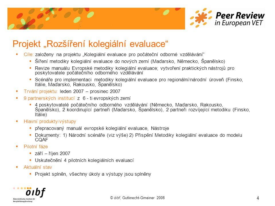 """4 © öibf, Gutknecht-Gmeiner 2008 Projekt """"Rozšíření kolegiální evaluace  Cíle: založeny na projektu """"Kolegiální evaluace pro počáteční odborné vzdělávání  Šíření metodiky kolegiální evaluace do nových zemí (Maďarsko, Německo, Španělsko)  Revize manuálu Evropské metodiky kolegiální evaluace; vytvoření praktických nástrojů pro poskytovatele počátečního odborného vzdělávání  Scénáře pro implementaci metodiky kolegiální evaluace pro regionální/národní úroveň (Finsko, Itálie, Maďarsko, Rakousko, Španělsko)  Trvání projektu: leden 2007 – prosinec 2007  9 partnerských institucí z 6 - ti evropských zemí  4 poskytovatelé počátečního odborného vzdělávání (Německo, Maďarsko, Rakousko, Španělsko), 2 koordinující partneři (Maďarsko, Španělsko), 2 partneři rozvíjející metodiku (Finsko, Itálie)  Hlavní produkty/výstupy  přepracovaný manuál evropské kolegiální evaluace, Nástroje  Dokumenty: 1) Národní scénáře (viz výše) 2) Přispění Metodiky kolegiální evaluace do modelu CQAF  Pilotní fáze  září – říjen 2007  Uskutečnění 4 pilotních kolegiálních evaluací  Aktuální stav  Projekt splněn, všechny úkoly a výstupy jsou splněny"""