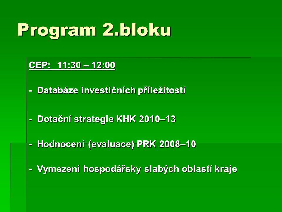 Program 2.bloku CEP:11:30 – 12:00 - Databáze investičních příležitostí - Dotační strategie KHK 2010–13 - Hodnocení (evaluace) PRK 2008–10 - Vymezení hospodářsky slabých oblastí kraje