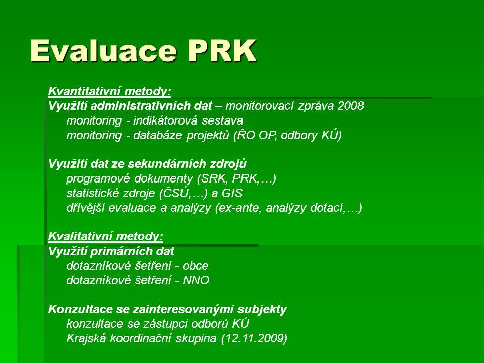 Evaluace PRK Kvantitativní metody: Využití administrativních dat – monitorovací zpráva 2008 monitoring - indikátorová sestava monitoring - databáze projektů (ŘO OP, odbory KÚ) Využití dat ze sekundárních zdrojů programové dokumenty (SRK, PRK,…) statistické zdroje (ČSÚ,…) a GIS dřívější evaluace a analýzy (ex-ante, analýzy dotací,…) Kvalitativní metody: Využití primárních dat dotazníkové šetření - obce dotazníkové šetření - NNO Konzultace se zainteresovanými subjekty konzultace se zástupci odborů KÚ Krajská koordinační skupina (12.11.2009)