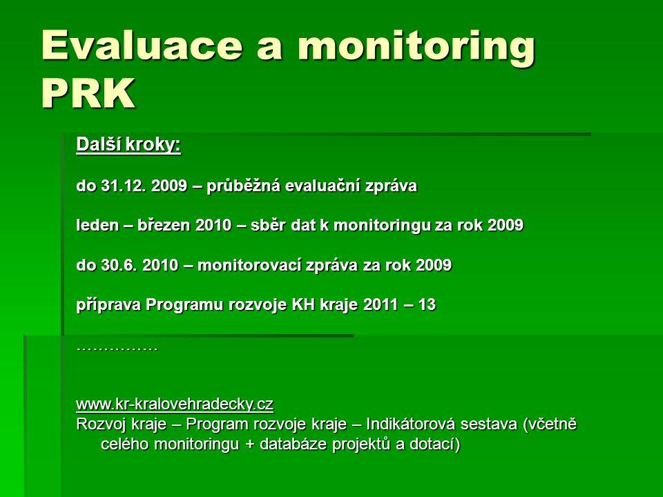 Evaluace a monitoring PRK Další kroky: do 31.12.