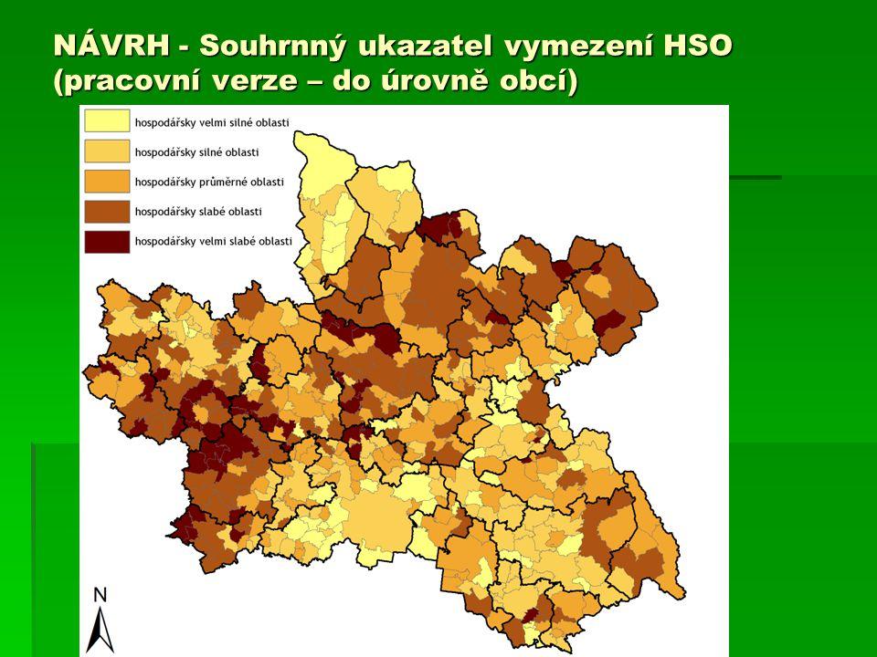 NÁVRH - Souhrnný ukazatel vymezení HSO (pracovní verze – do úrovně obcí)