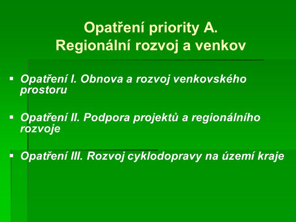Opatření priority A.Regionální rozvoj a venkov   Opatření I.