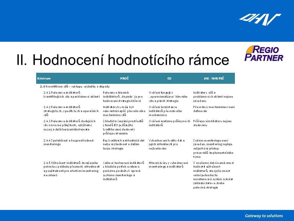 II. Hodnocení hodnotícího rámce