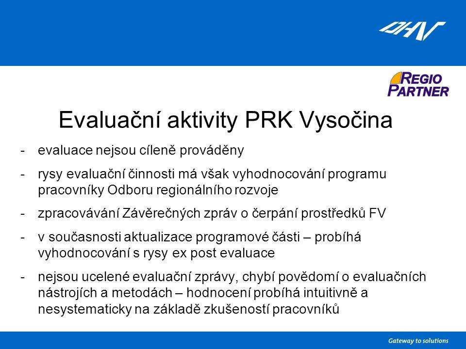Evaluační aktivity PRK Vysočina -evaluace nejsou cíleně prováděny -rysy evaluační činnosti má však vyhodnocování programu pracovníky Odboru regionálního rozvoje -zpracovávání Závěrečných zpráv o čerpání prostředků FV -v současnosti aktualizace programové části – probíhá vyhodnocování s rysy ex post evaluace -nejsou ucelené evaluační zprávy, chybí povědomí o evaluačních nástrojích a metodách – hodnocení probíhá intuitivně a nesystematicky na základě zkušeností pracovníků