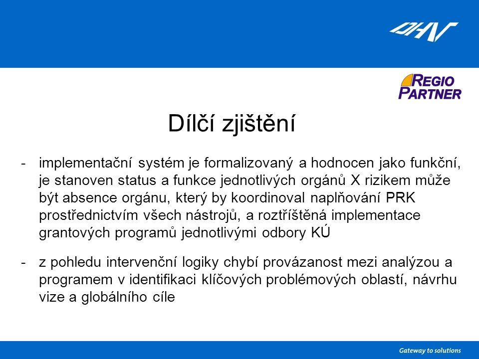 Dílčí zjištění -implementační systém je formalizovaný a hodnocen jako funkční, je stanoven status a funkce jednotlivých orgánů X rizikem může být absence orgánu, který by koordinoval naplňování PRK prostřednictvím všech nástrojů, a roztříštěná implementace grantových programů jednotlivými odbory KÚ -z pohledu intervenční logiky chybí provázanost mezi analýzou a programem v identifikaci klíčových problémových oblastí, návrhu vize a globálního cíle