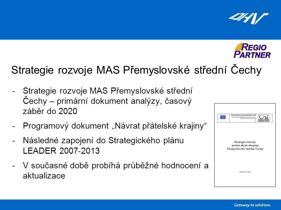 """Strategie rozvoje MAS Přemyslovské střední Čechy -Strategie rozvoje MAS Přemyslovské střední Čechy – primární dokument analýzy, časový záběr do 2020 -Programový dokument """"Návrat přátelské krajiny -Následné zapojení do Strategického plánu LEADER 2007-2013 -V současné době probíhá průběžné hodnocení a aktualizace"""