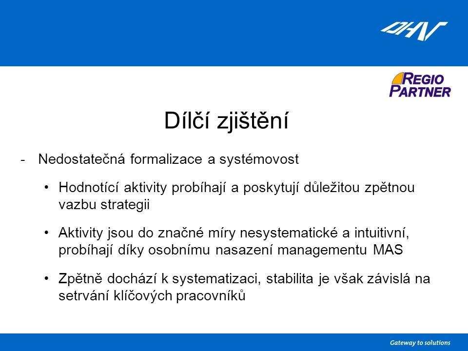 Dílčí zjištění -Nedostatečná formalizace a systémovost Hodnotící aktivity probíhají a poskytují důležitou zpětnou vazbu strategii Aktivity jsou do značné míry nesystematické a intuitivní, probíhají díky osobnímu nasazení managementu MAS Zpětně dochází k systematizaci, stabilita je však závislá na setrvání klíčových pracovníků