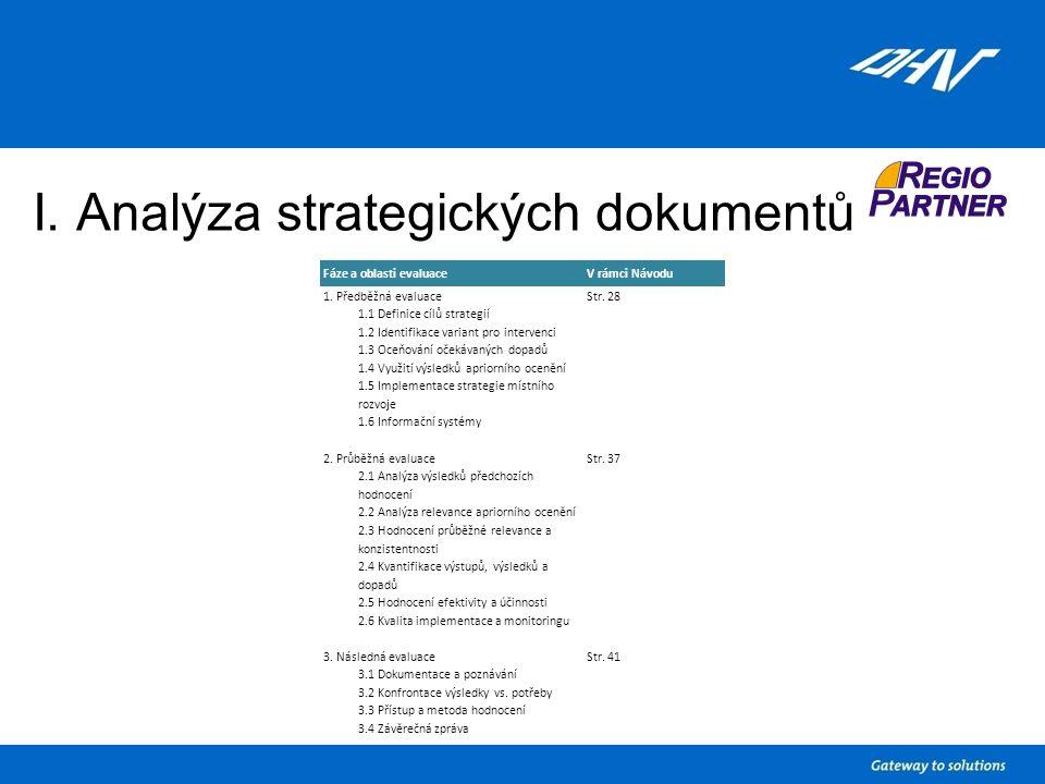 I. Analýza strategických dokumentů Fáze a oblasti evaluaceV rámci Návodu 1.