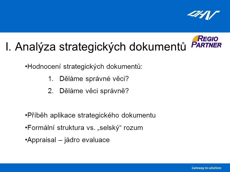 I. Analýza strategických dokumentů Hodnocení strategických dokumentů: 1.Děláme správné věci.