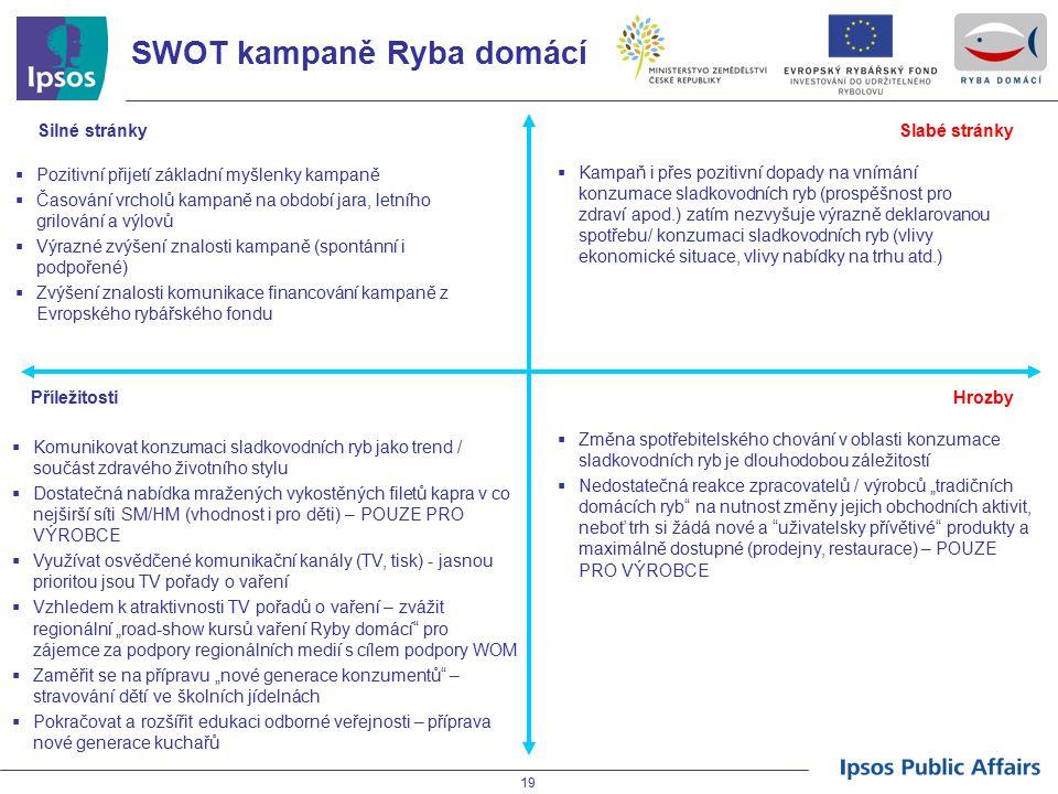 19 SWOT kampaně Ryba domácí Silné stránkySlabé stránky Příležitosti Hrozby  Pozitivní přijetí základní myšlenky kampaně  Časování vrcholů kampaně na