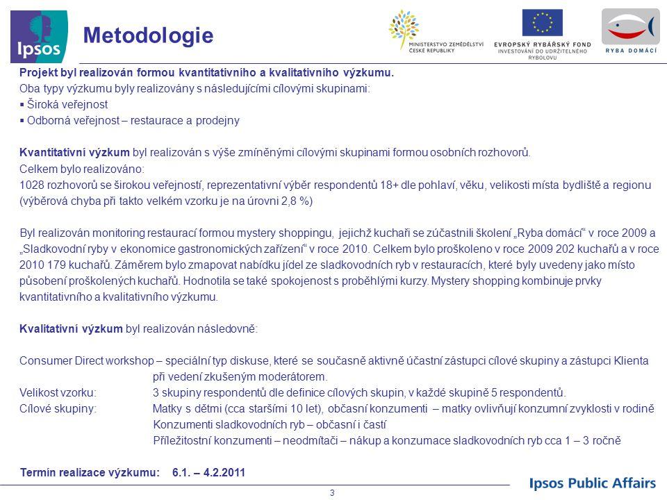 4 Znalost sladkovodních ryb V oblasti vnímání a znalosti sladkovodních ryb nedošlo v porovnání s předešlými fázemi výzkumu k žádnému výraznému posunu.