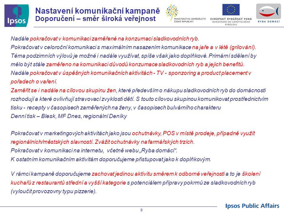 """19 SWOT kampaně Ryba domácí Silné stránkySlabé stránky Příležitosti Hrozby  Pozitivní přijetí základní myšlenky kampaně  Časování vrcholů kampaně na období jara, letního grilování a výlovů  Výrazné zvýšení znalosti kampaně (spontánní i podpořené)  Zvýšení znalosti komunikace financování kampaně z Evropského rybářského fondu  Komunikovat konzumaci sladkovodních ryb jako trend / součást zdravého životního stylu  Dostatečná nabídka mražených vykostěných filetů kapra v co nejširší síti SM/HM (vhodnost i pro děti) – POUZE PRO VÝROBCE  Využívat osvědčené komunikační kanály (TV, tisk) - jasnou prioritou jsou TV pořady o vaření  Vzhledem k atraktivnosti TV pořadů o vaření – zvážit regionální """"road-show kursů vaření Ryby domácí pro zájemce za podpory regionálních medií s cílem podpory WOM  Zaměřit se na přípravu """"nové generace konzumentů – stravování dětí ve školních jídelnách  Pokračovat a rozšířit edukaci odborné veřejnosti – příprava nové generace kuchařů  Kampaň i přes pozitivní dopady na vnímání konzumace sladkovodních ryb (prospěšnost pro zdraví apod.) zatím nezvyšuje výrazně deklarovanou spotřebu/ konzumaci sladkovodních ryb (vlivy ekonomické situace, vlivy nabídky na trhu atd.)  Změna spotřebitelského chování v oblasti konzumace sladkovodních ryb je dlouhodobou záležitostí  Nedostatečná reakce zpracovatelů / výrobců """"tradičních domácích ryb na nutnost změny jejich obchodních aktivit, neboť trh si žádá nové a uživatelsky přívětivé produkty a maximálně dostupné (prodejny, restaurace) – POUZE PRO VÝROBCE"""