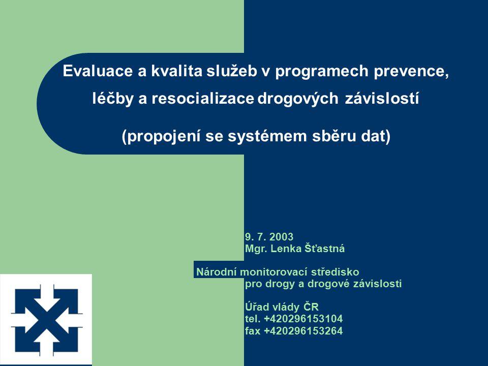 Evaluace a kvalita služeb v programech prevence, léčby a resocializace drogových závislostí (propojení se systémem sběru dat) 9. 7. 2003 Mgr. Lenka Šť