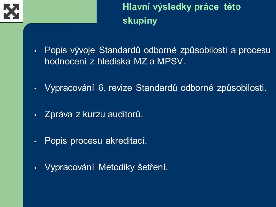 Hlavní výsledky práce této skupiny Popis vývoje Standardů odborné způsobilosti a procesu hodnocení z hlediska MZ a MPSV. Vypracování 6. revize Standar