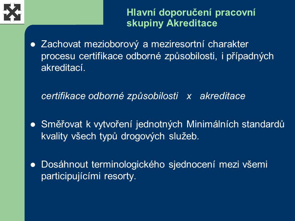 Hlavní doporučení pracovní skupiny Akreditace Zachovat mezioborový a meziresortní charakter procesu certifikace odborné způsobilosti, i případných akr
