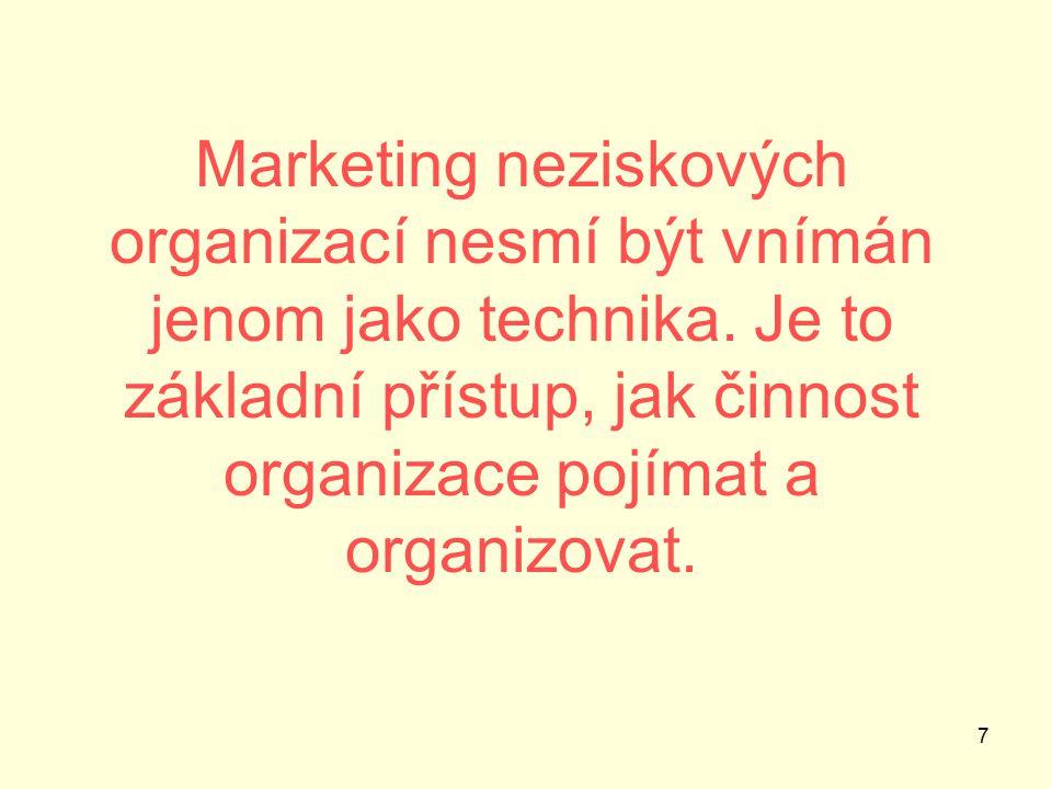 7 Marketing neziskových organizací nesmí být vnímán jenom jako technika.