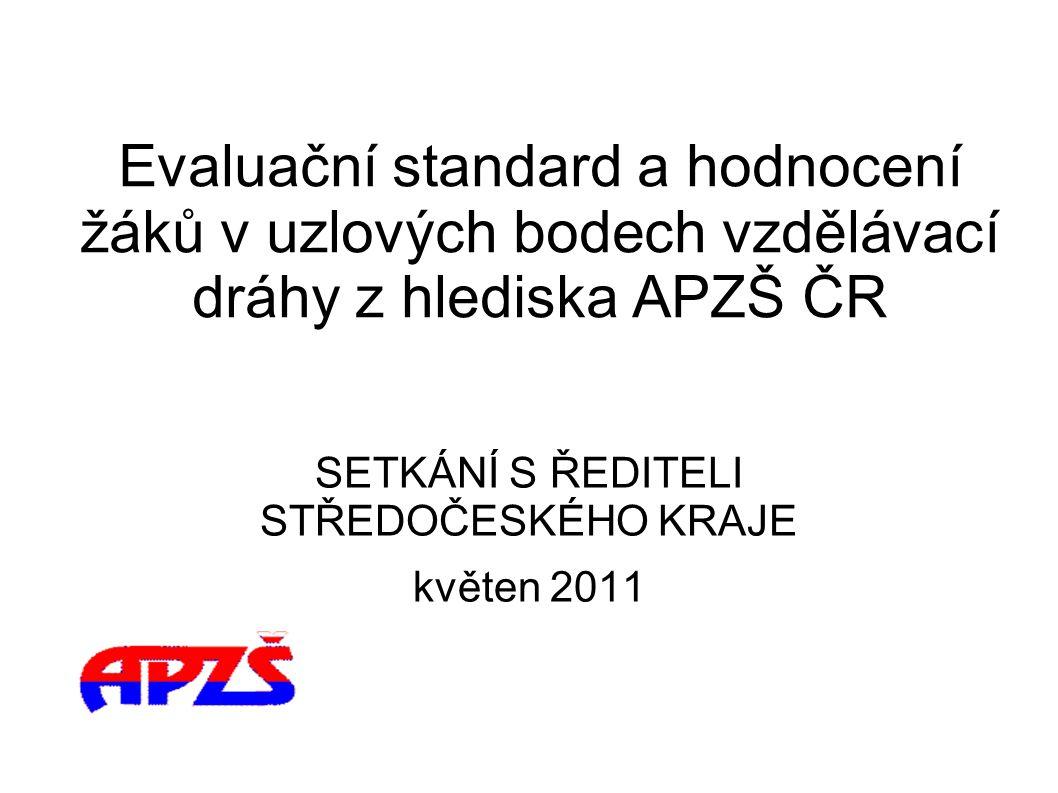 Evaluační standard a hodnocení žáků v uzlových bodech vzdělávací dráhy z hlediska APZŠ ČR SETKÁNÍ S ŘEDITELI STŘEDOČESKÉHO KRAJE květen 2011