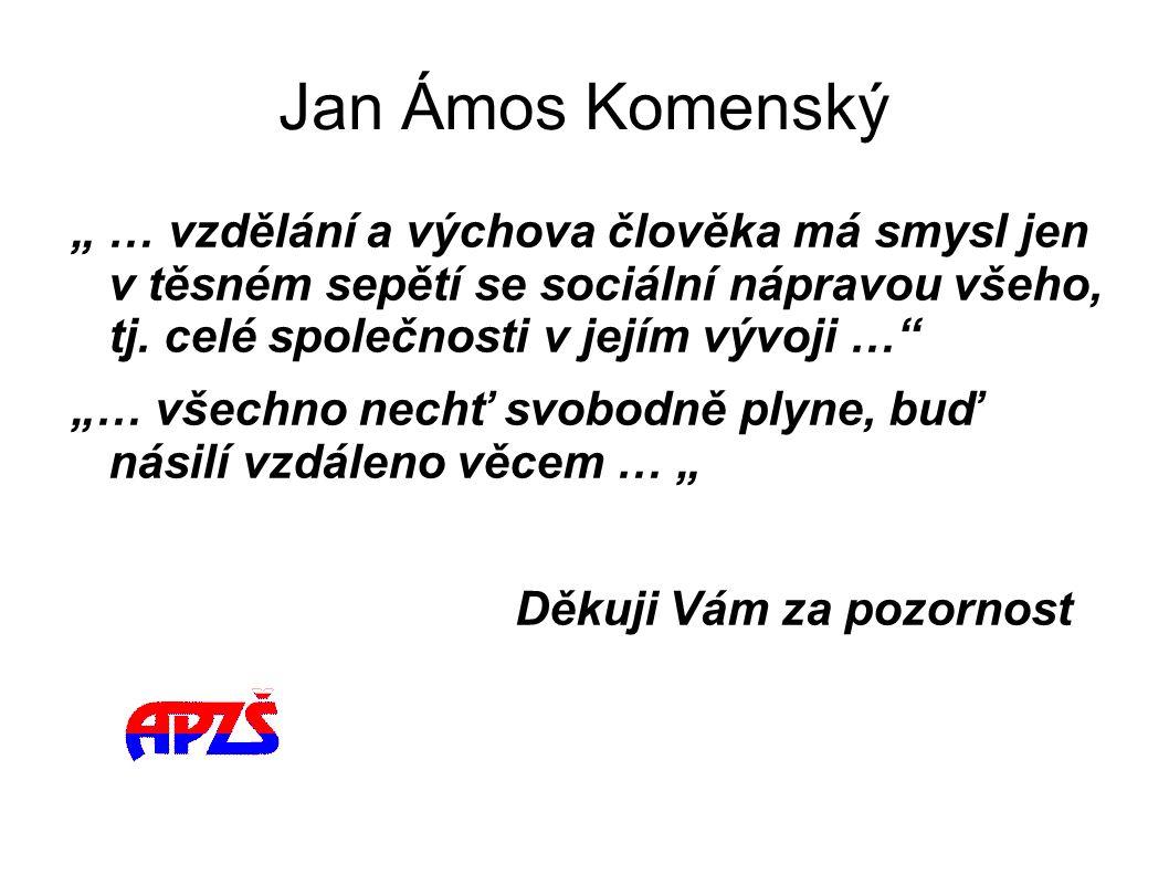 """Jan Ámos Komenský """" … vzdělání a výchova člověka má smysl jen v těsném sepětí se sociální nápravou všeho, tj. celé společnosti v jejím vývoji …"""" """"… vš"""