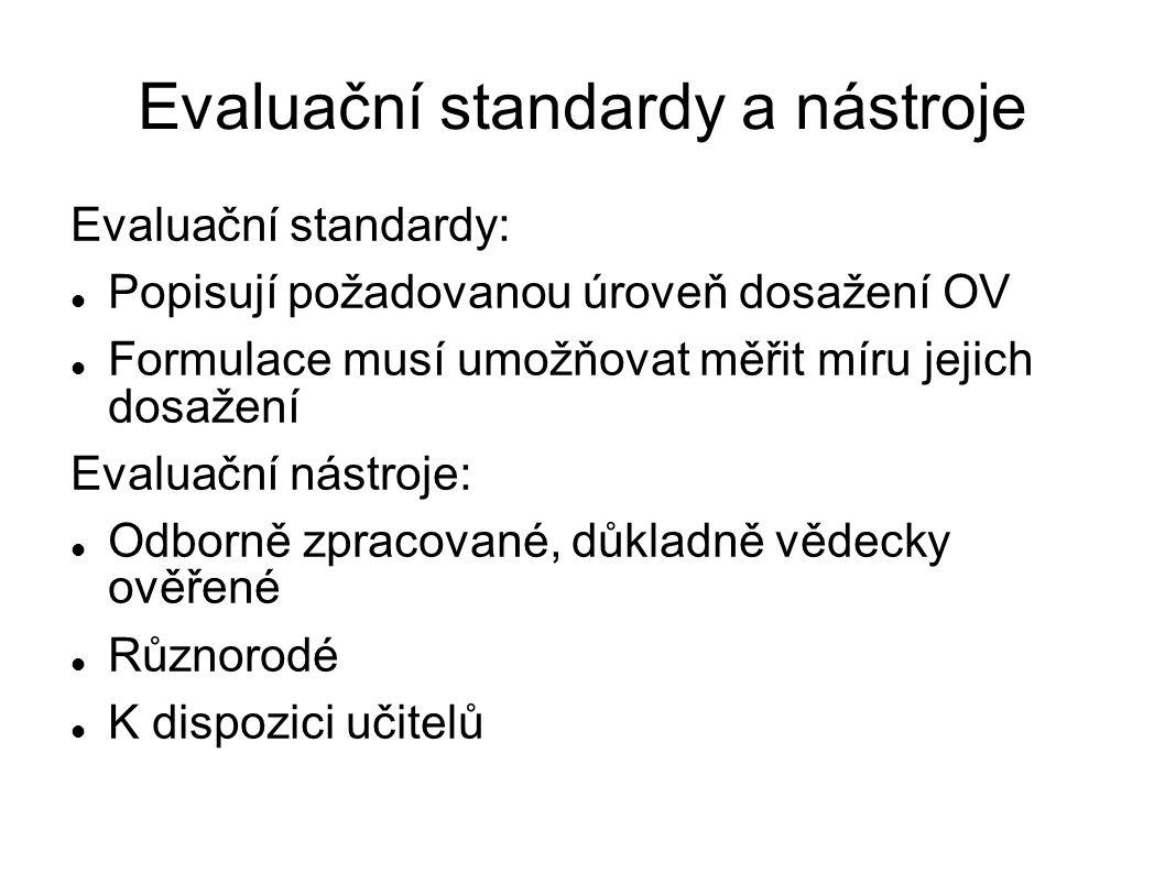 Evaluační standardy a nástroje Evaluační standardy: Popisují požadovanou úroveň dosažení OV Formulace musí umožňovat měřit míru jejich dosažení Evalua