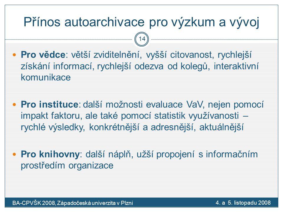 Přínos autoarchivace pro výzkum a vývoj 4. a 5.