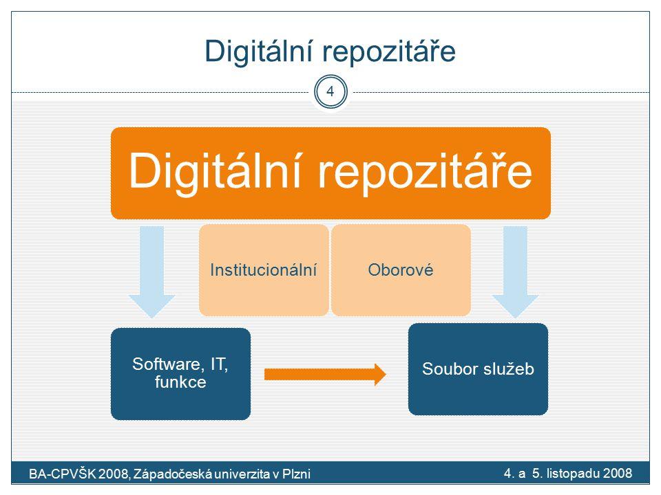 2.Otevřený přístup (Open Access) Definice otevřeného přístupu:  neomezený, bezplatný online přístup k informacím Iniciativy BBB:  Budapešťská iniciativa (2002), Prohlášení z Bethesdy (2003), Berlínská deklarace (2003) Budapešťská iniciativaProhlášení z Bethesdy Berlínská deklarace Dvojí realizace otevřeného přístupu:  zelená – archivace eprintů v repozitářích  zlatá - publikování v časopisech s otevřeným přístupem Otevřený přístup k publikovaným výsledkům VaV 4.