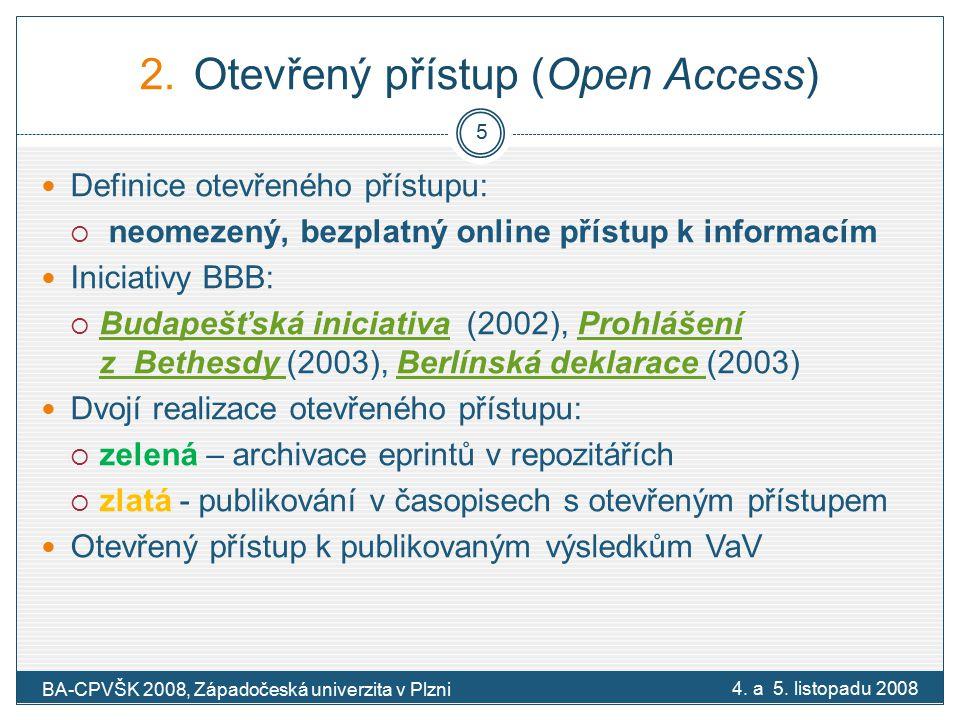 """Pilotní projekt Evropské komise na podporu otevřeného přístupu Pilotní projekt Evropské komisePilotní projekt Evropské komise ( Open access pilot in FP7) Otázka principu  Výsledky VaV podporovaného z veřejných prostředků mají být volně dostupné Předpoklady:  Zvýšení návratnosti investic vložených do VaV  Socioekonomický přínos  Úspora investic za trojí nadbytečné dotování – výzkumu, recenzního řízení, nákupu časopisů 6-12 měsíční lhůta na zveřejnění publikovaných výsledků Pilotní fáze postavena na """"green open access Není budována zvláštní repozitářová infrastruktura Začátek 20."""
