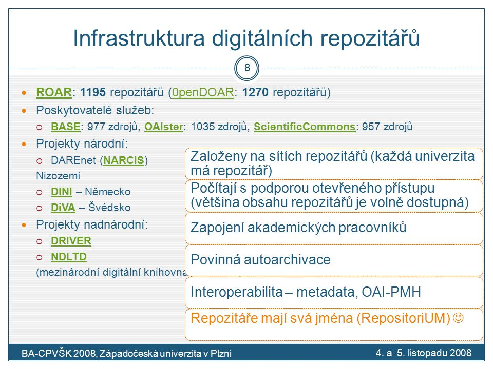 Infrastruktura digitálních repozitářů ROAR: 1195 repozitářů (0penDOAR: 1270 repozitářů) ROAR0penDOAR Poskytovatelé služeb:  BASE: 977 zdrojů, OAIster: 1035 zdrojů, ScientificCommons: 957 zdrojů BASEOAIsterScientificCommons Projekty národní:  DAREnet (NARCIS)NARCIS Nizozemí  DINI – Německo DINI  DiVA – Švédsko DiVA Projekty nadnárodní:  DRIVER DRIVER  NDLTD NDLTD (mezinárodní digitální knihovna pro VŠKP) 4.
