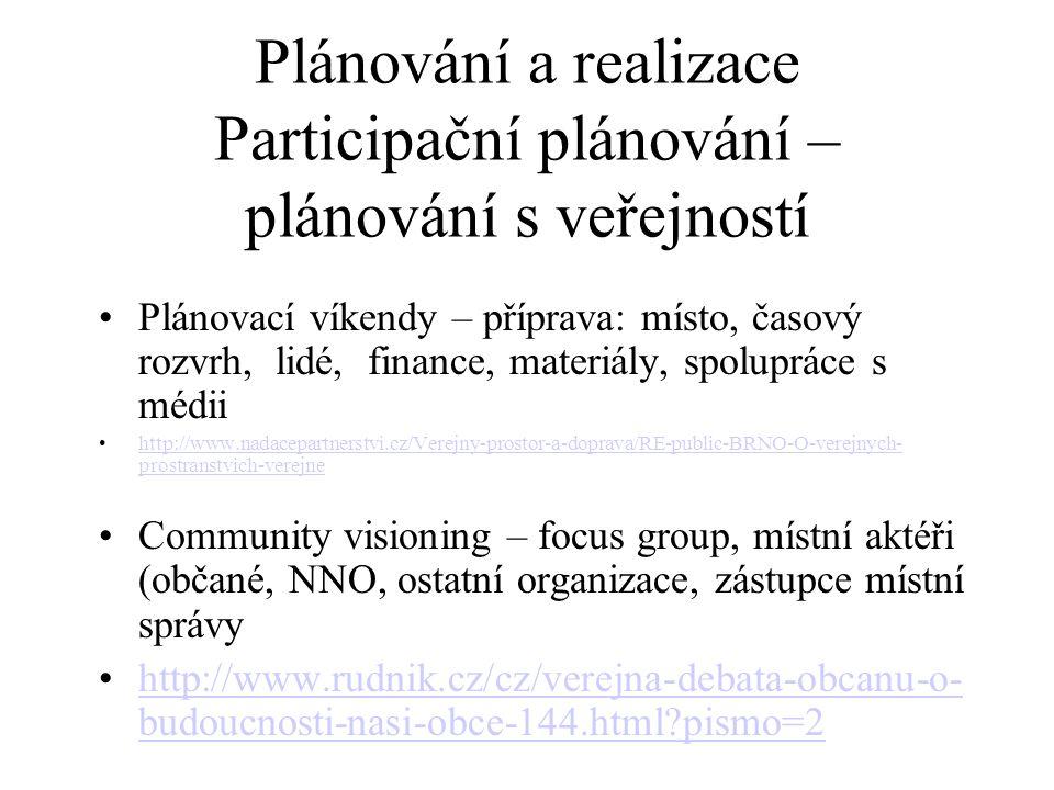 Plánování a realizace Participační plánování – plánování s veřejností Plánovací víkendy – příprava: místo, časový rozvrh, lidé, finance, materiály, sp