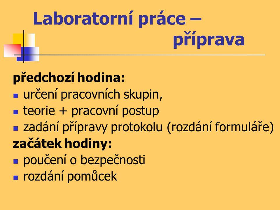 Laboratorní práce – příprava předchozí hodina: určení pracovních skupin, teorie + pracovní postup zadání přípravy protokolu (rozdání formuláře) začátek hodiny: poučení o bezpečnosti rozdání pomůcek