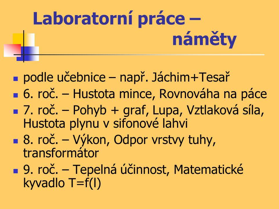 Laboratorní práce – náměty podle učebnice – např. Jáchim+Tesař 6. roč. – Hustota mince, Rovnováha na páce 7. roč. – Pohyb + graf, Lupa, Vztlaková síla