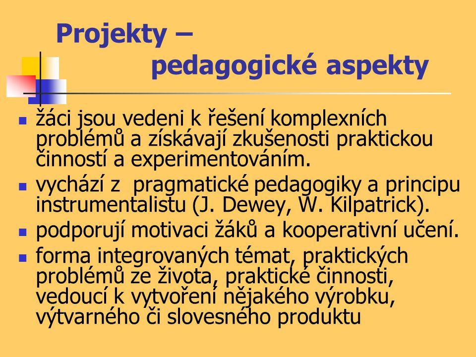 Projekty – pedagogické aspekty žáci jsou vedeni k řešení komplexních problémů a získávají zkušenosti praktickou činností a experimentováním. vychází z