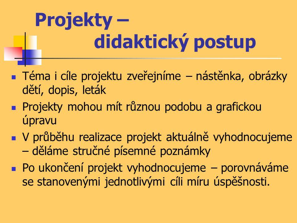 Projekty – didaktický postup Téma i cíle projektu zveřejníme – nástěnka, obrázky dětí, dopis, leták Projekty mohou mít různou podobu a grafickou úprav