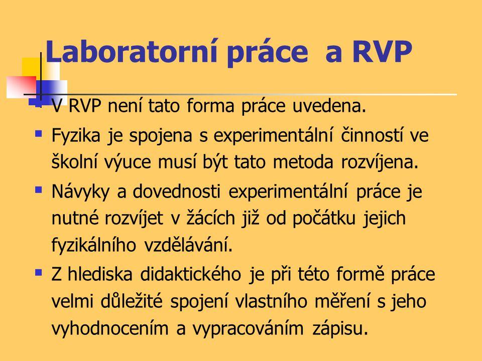 Laboratorní práce a RVP  V RVP není tato forma práce uvedena.  Fyzika je spojena s experimentální činností ve školní výuce musí být tato metoda rozv