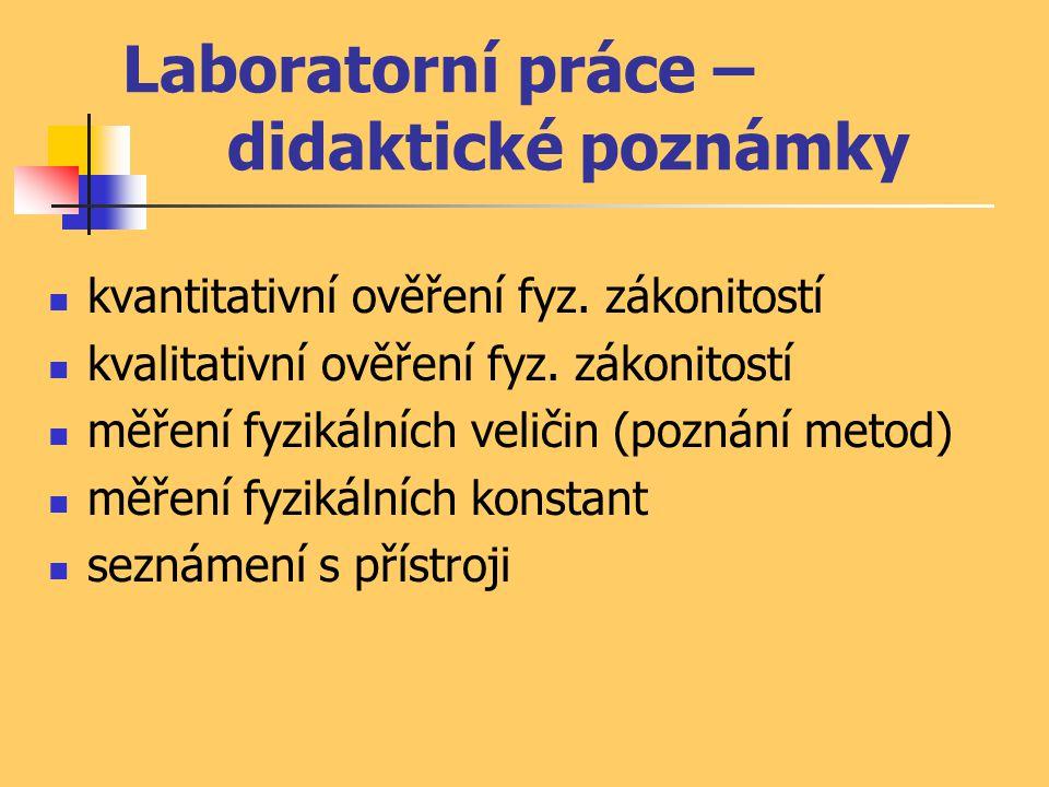 Laboratorní práce – didaktické poznámky kvantitativní ověření fyz. zákonitostí kvalitativní ověření fyz. zákonitostí měření fyzikálních veličin (pozná