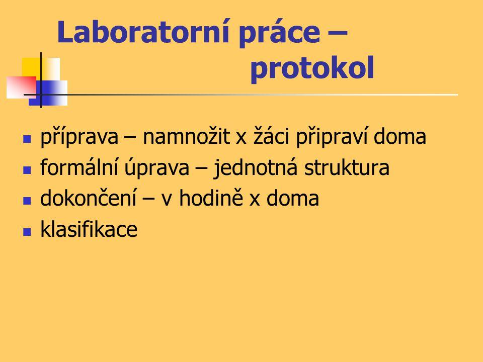 Laboratorní práce – protokol příprava – namnožit x žáci připraví doma formální úprava – jednotná struktura dokončení – v hodině x doma klasifikace