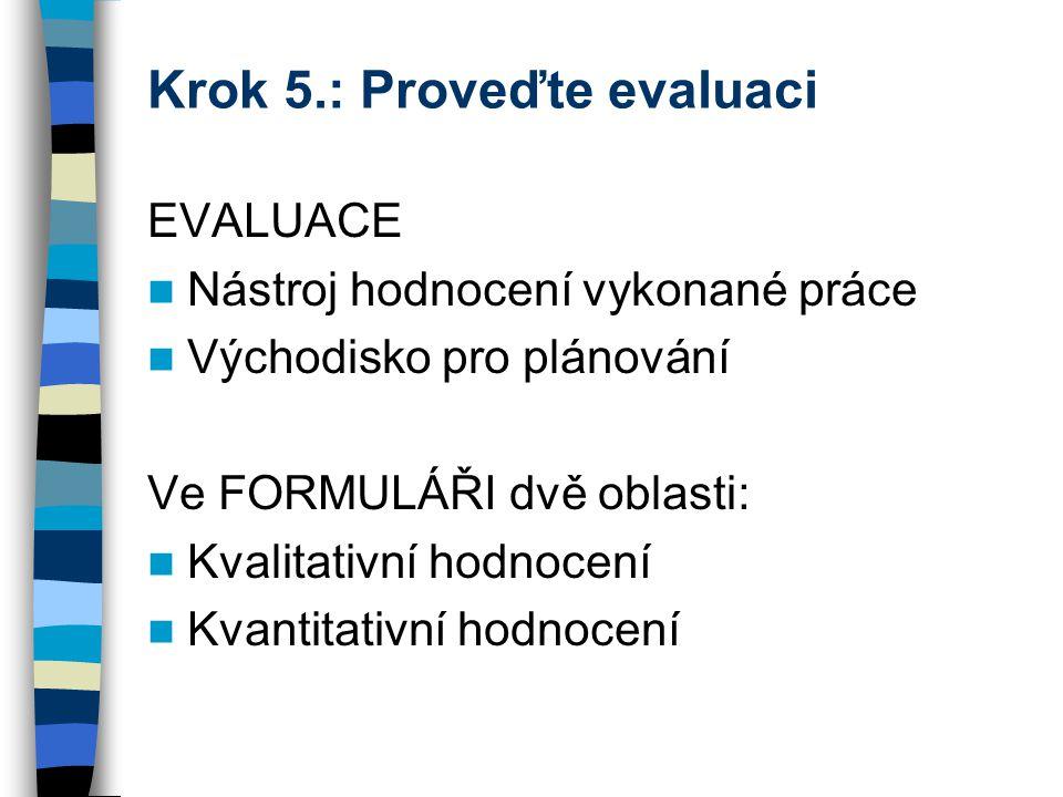 Krok 5.: Proveďte evaluaci EVALUACE Nástroj hodnocení vykonané práce Východisko pro plánování Ve FORMULÁŘI dvě oblasti: Kvalitativní hodnocení Kvantitativní hodnocení