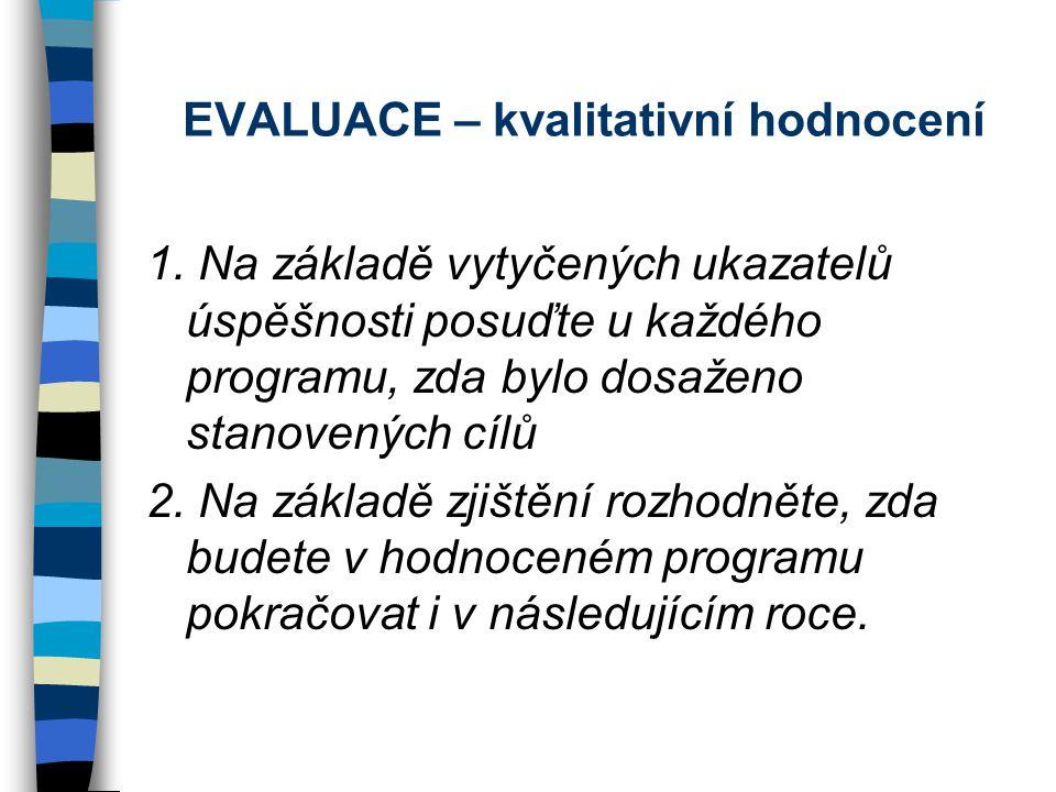 EVALUACE – kvalitativní hodnocení 1.