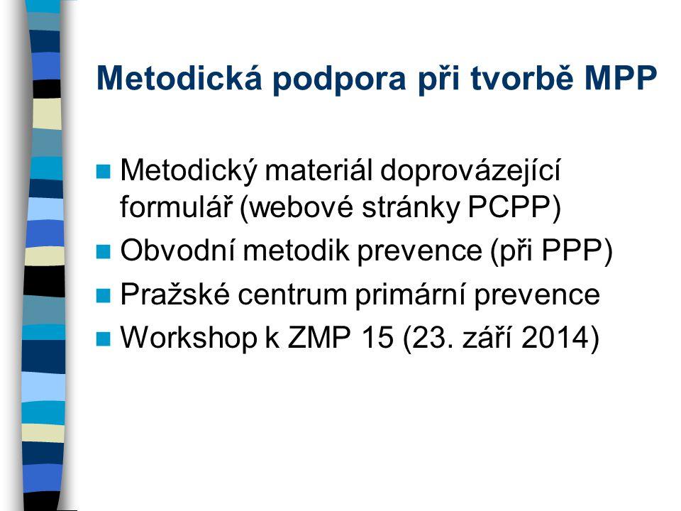 Metodická podpora při tvorbě MPP Metodický materiál doprovázející formulář (webové stránky PCPP) Obvodní metodik prevence (při PPP) Pražské centrum primární prevence Workshop k ZMP 15 (23.