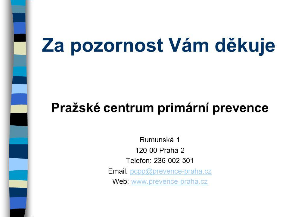 Za pozornost Vám děkuje Pražské centrum primární prevence Rumunská 1 120 00 Praha 2 Telefon: 236 002 501 Email: pcpp@prevence-praha.czpcpp@prevence-praha.cz Web: www.prevence-praha.czwww.prevence-praha.cz