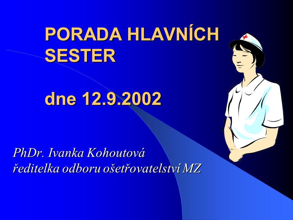 PORADA HLAVNÍCH SESTER dne 12.9.2002 PhDr. Ivanka Kohoutová ředitelka odboru ošetřovatelství MZ