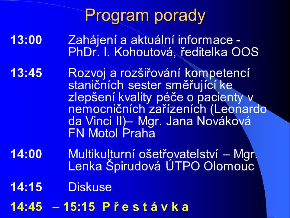 Program porady 13:00Zahájení a aktuální informace - PhDr. I. Kohoutová, ředitelka OOS 13:45Rozvoj a rozšiřování kompetencí staničních sester směřující