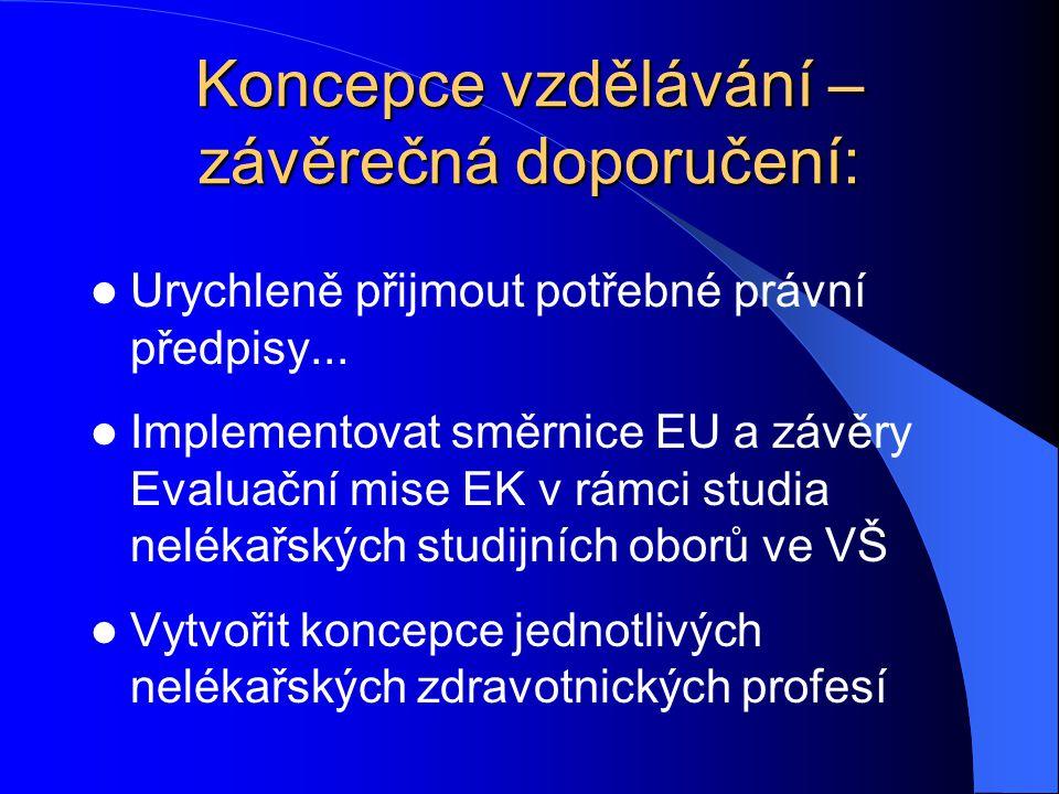 Koncepce vzdělávání – závěrečná doporučení: Urychleně přijmout potřebné právní předpisy... Implementovat směrnice EU a závěry Evaluační mise EK v rámc
