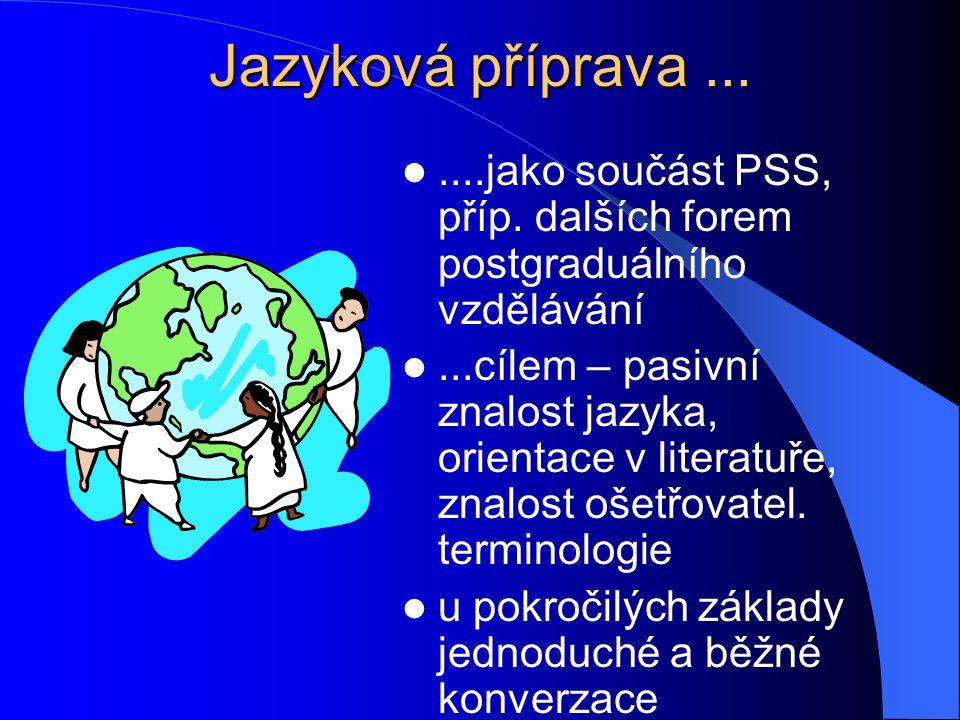 Jazyková příprava.......jako součást PSS, příp. dalších forem postgraduálního vzdělávání...cílem – pasivní znalost jazyka, orientace v literatuře, zna