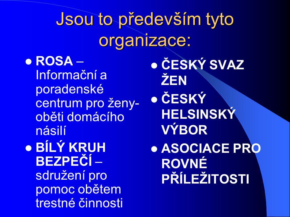 Jsou to především tyto organizace: ROSA – Informační a poradenské centrum pro ženy- oběti domácího násilí BÍLÝ KRUH BEZPEČÍ – sdružení pro pomoc oběte